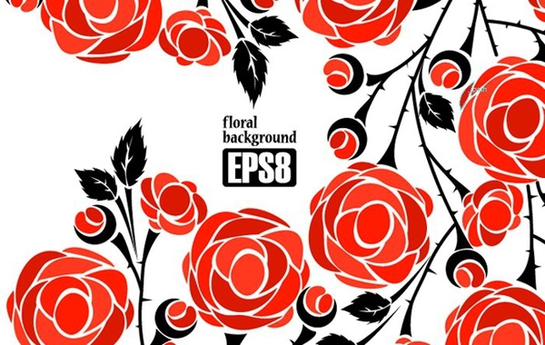 600x380 Red Roses Background Seamless Ornament Free Vector In Encapsulated
