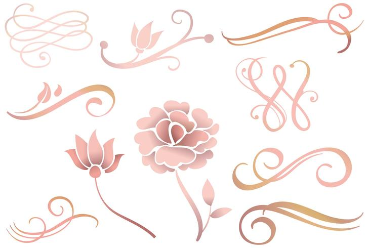 727x490 Rose Gold Ornaments Vectors