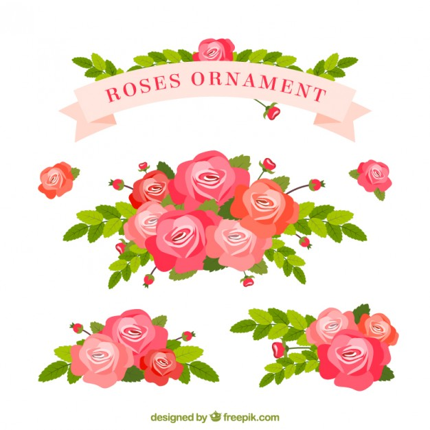 626x626 Roses Ornament Vector Premium Download