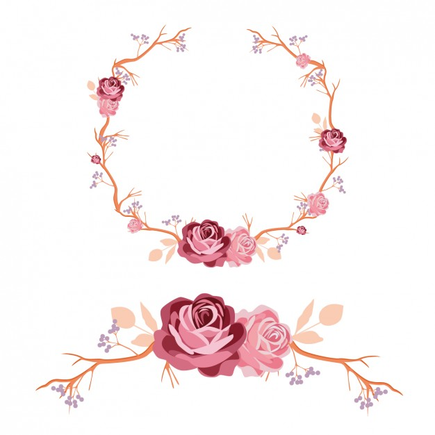 626x626 Roses Wreath And Ornament Design Vector Free Download