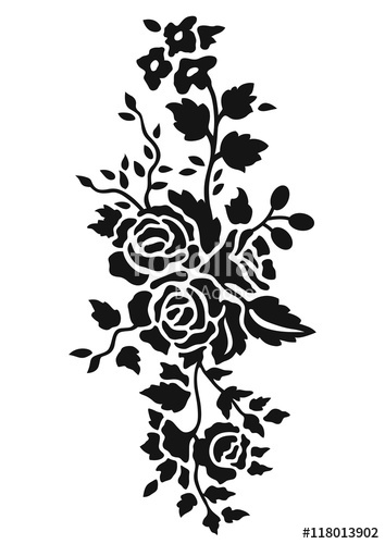 354x500 Black Rose Pattern, Black Rose Ornament, Blace Rose Flower, Black