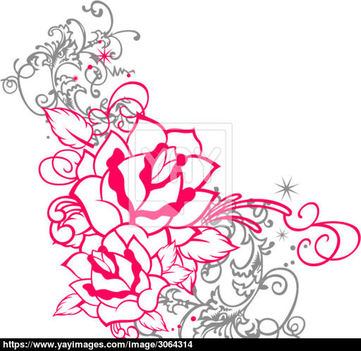 512x498 Fancy Rose With Spiral Ornament Vector