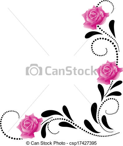 396x470 Corner Decorative Floral Ornament With Pink Roses.
