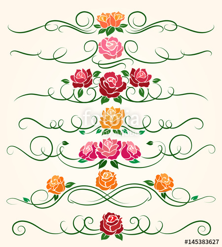 450x500 Decorative Flourish Borders And Rose Flower Dividers Calligraphic