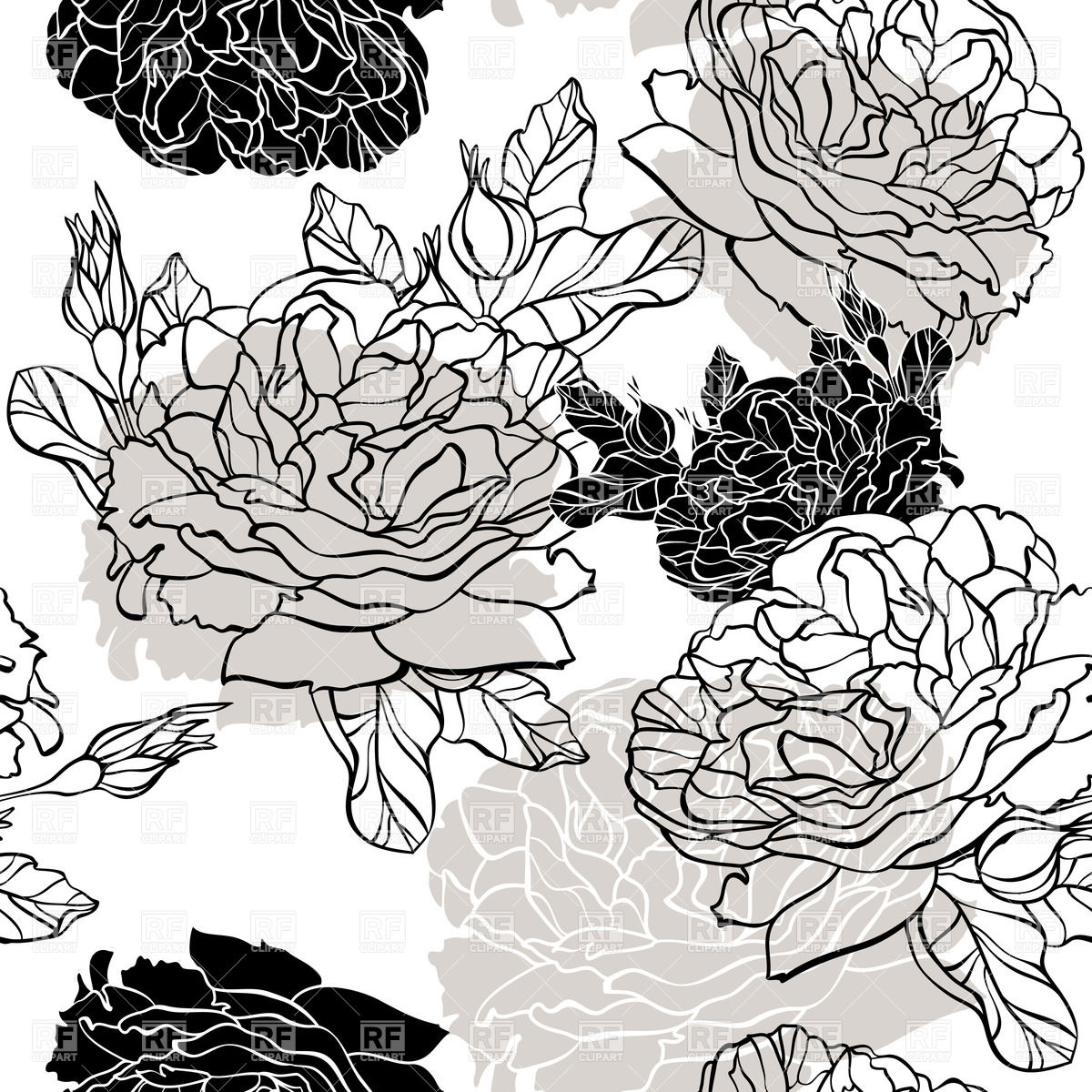 Vector Seamless Floral Background Pattern Black And White
