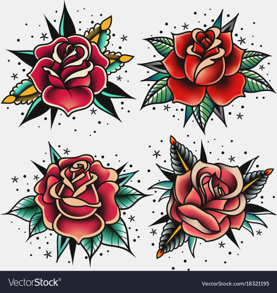 970x1027 Old School Tattoo Roses Set Royalty Free Vector Image Old Rose