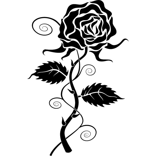Rose Vector Black And White