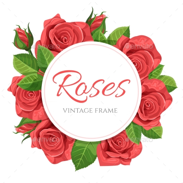 590x590 Red Rose Vector Illustration Round Frame By M1rz 420 Graphicriver