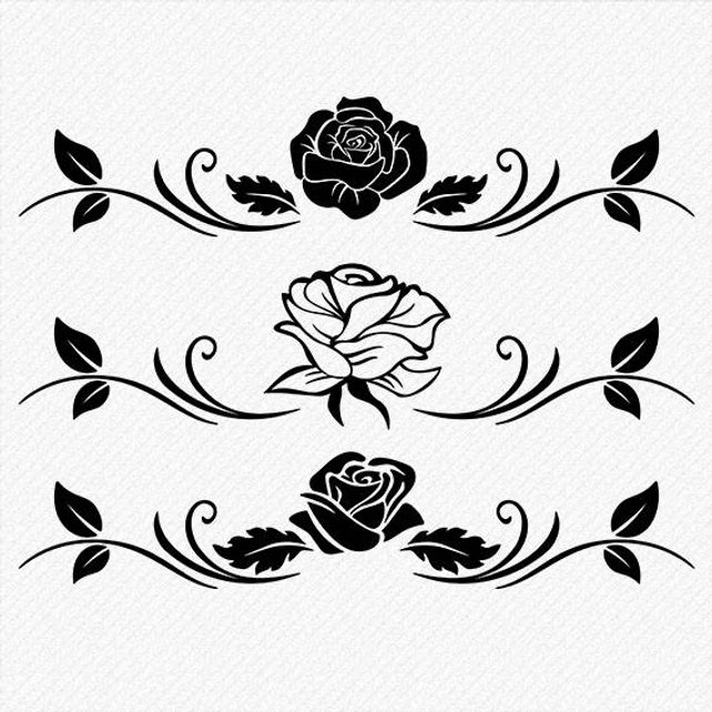 642x642 Rose Silhouette Rose Clipart Rose Vector Roses Clipart Etsy