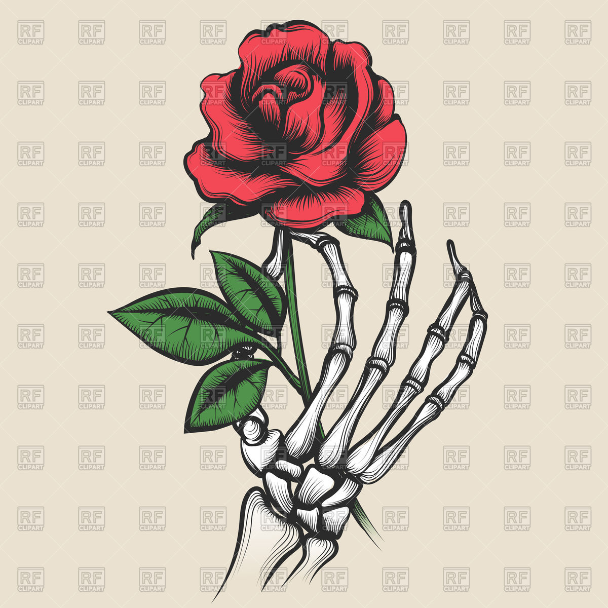 1200x1200 Skeleton Hand With Rose Vector Image Vector Artwork Of Plants