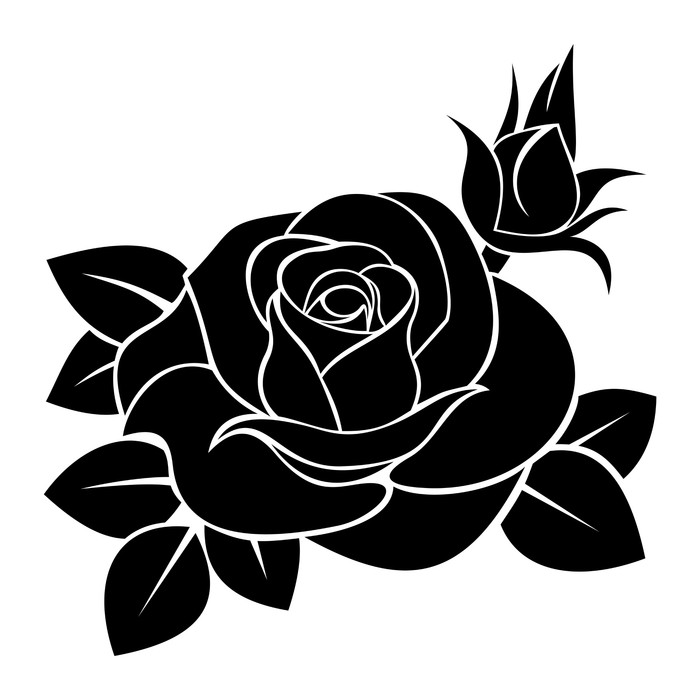 700x700 Black Silhouette Of Rose. Vector Illustration. Wall Decal Pixers
