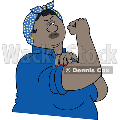 400x400 Clipart Of A Cartoon Strong Black Rosie The Riveter Flexing Her