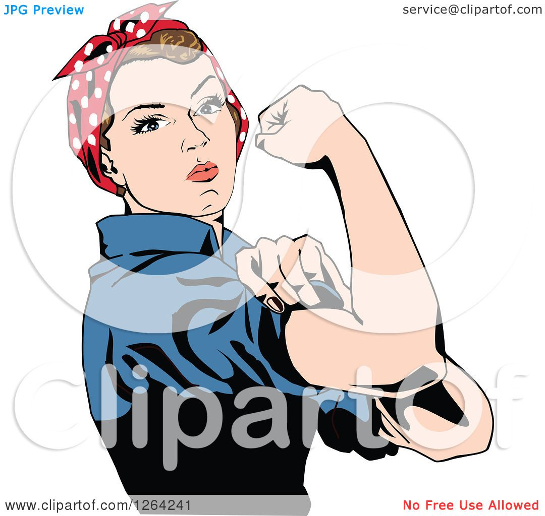 1080x1024 Clipart Of A Rosie The Riveter Flexing And Facing Right