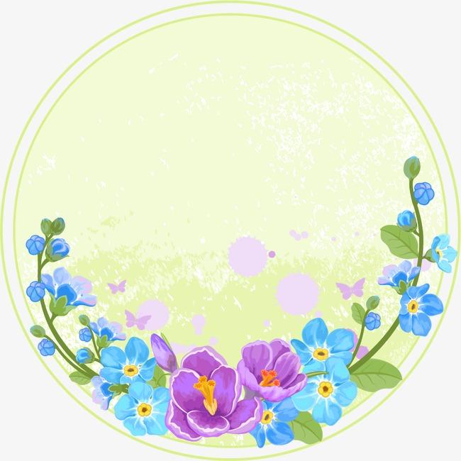 650x650 Flowers Round Frame Vector, Round Vector, Frame Vector, Circular