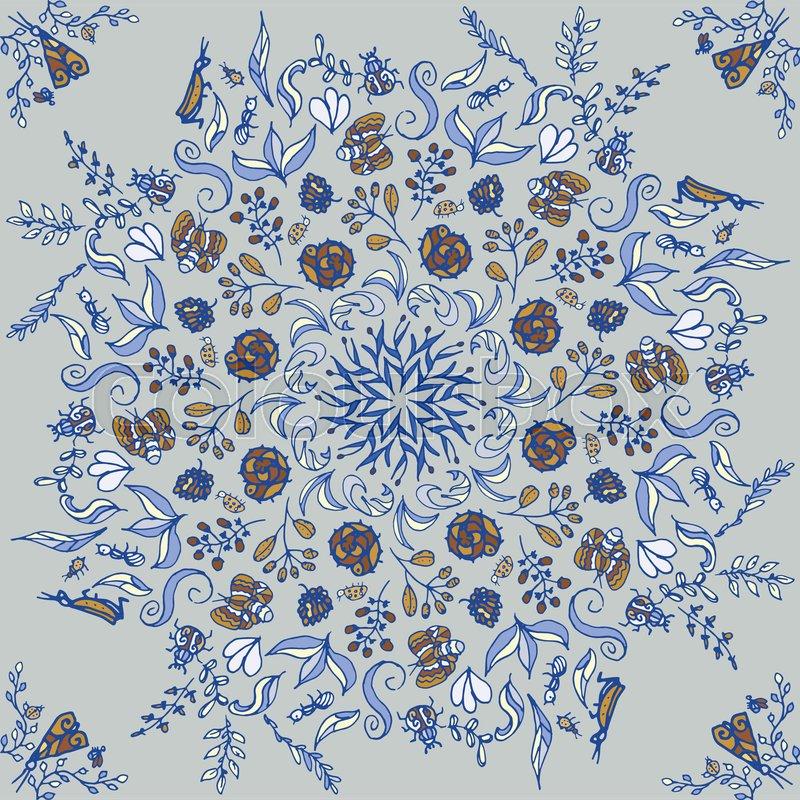 800x800 Beautiful Circular Floral Seamless Pattern. Ornamental Round Lace