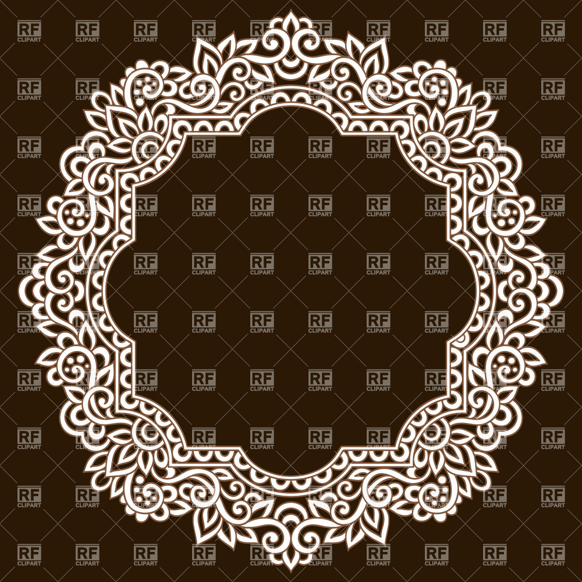 1200x1200 Round Lace Frame With Stylized Leaves