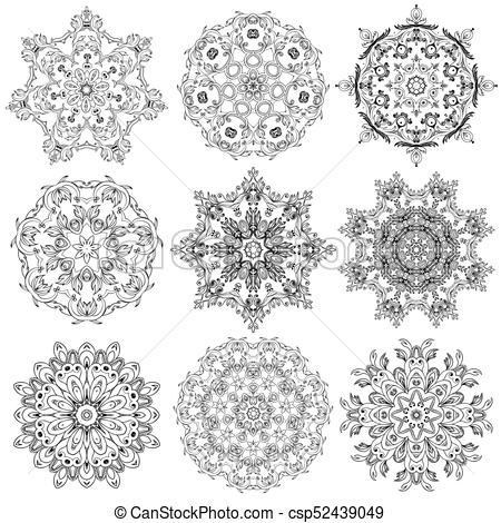 450x470 Set Of Circular Ornaments, Doodle Ornament, Round Lace Vector Design.