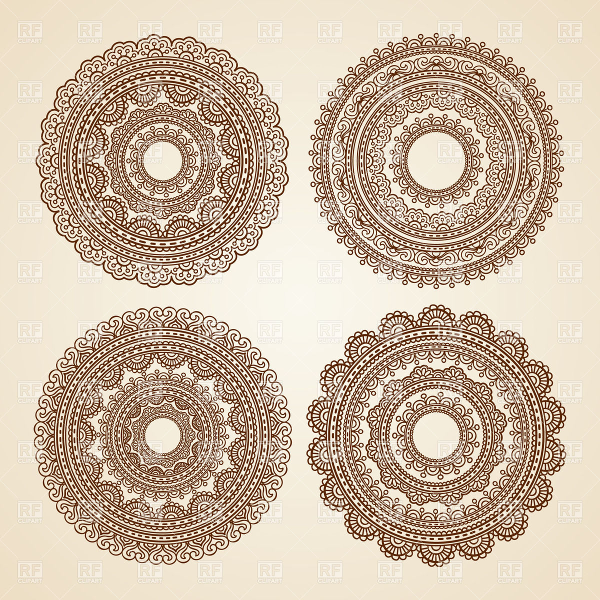 1200x1200 Set Of Round Lace Ornaments Vector Image Vector Artwork Of