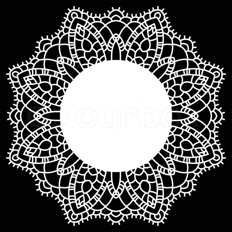 800x800 Vintage Handmade Knitted Doily. Round Lace Pattern. Vector