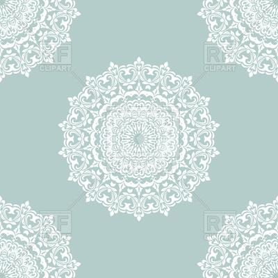 400x400 White Mandala Seamless Pattern On Blue Background