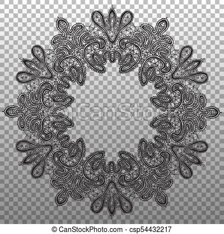450x470 Black Round Napkin Lace. Vector Isolated Ornament Texture.
