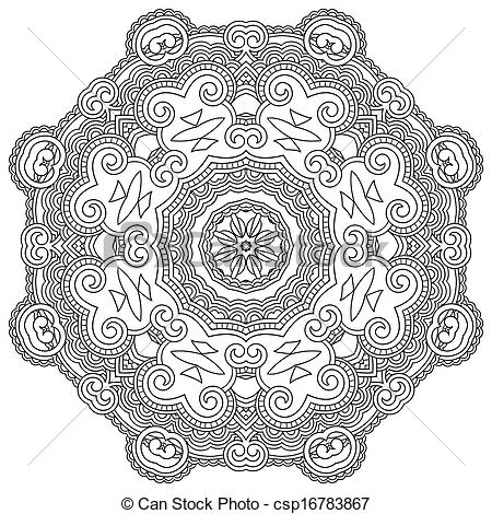450x470 Circle Ornament, Black And White Ornamental Round Lace.