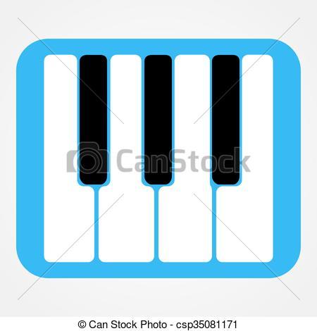 450x470 Piano Keys Icon Rounded Rectangle. Piano Keys Icon Isolated On
