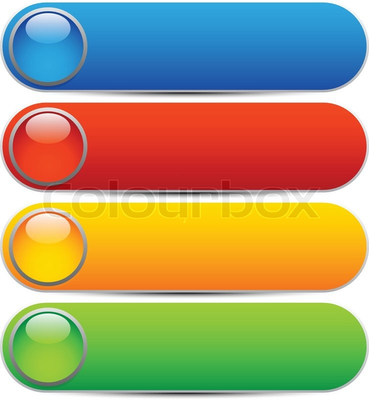 738x800 Glossy Buttons, Banners. Rounded Rectangle Shapes. Colorful Vector