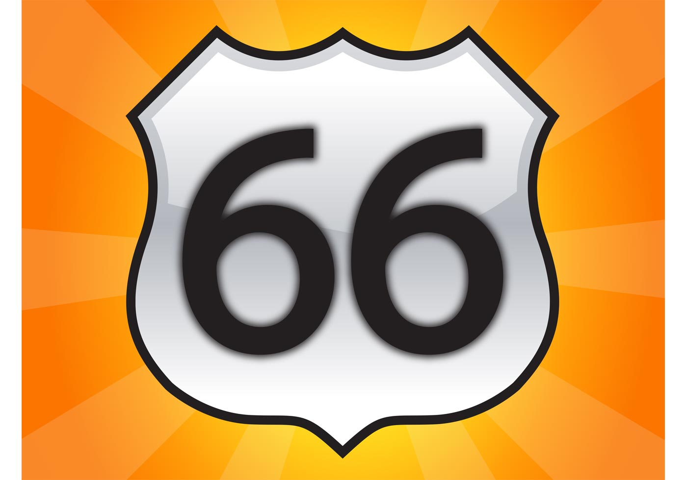 1400x980 Route 66 Sign Free Vector Art