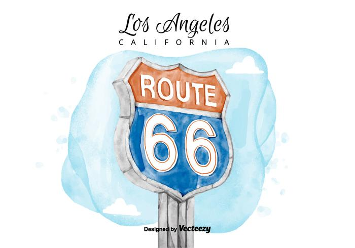 700x490 Route 66 Sign Watercolor Vector