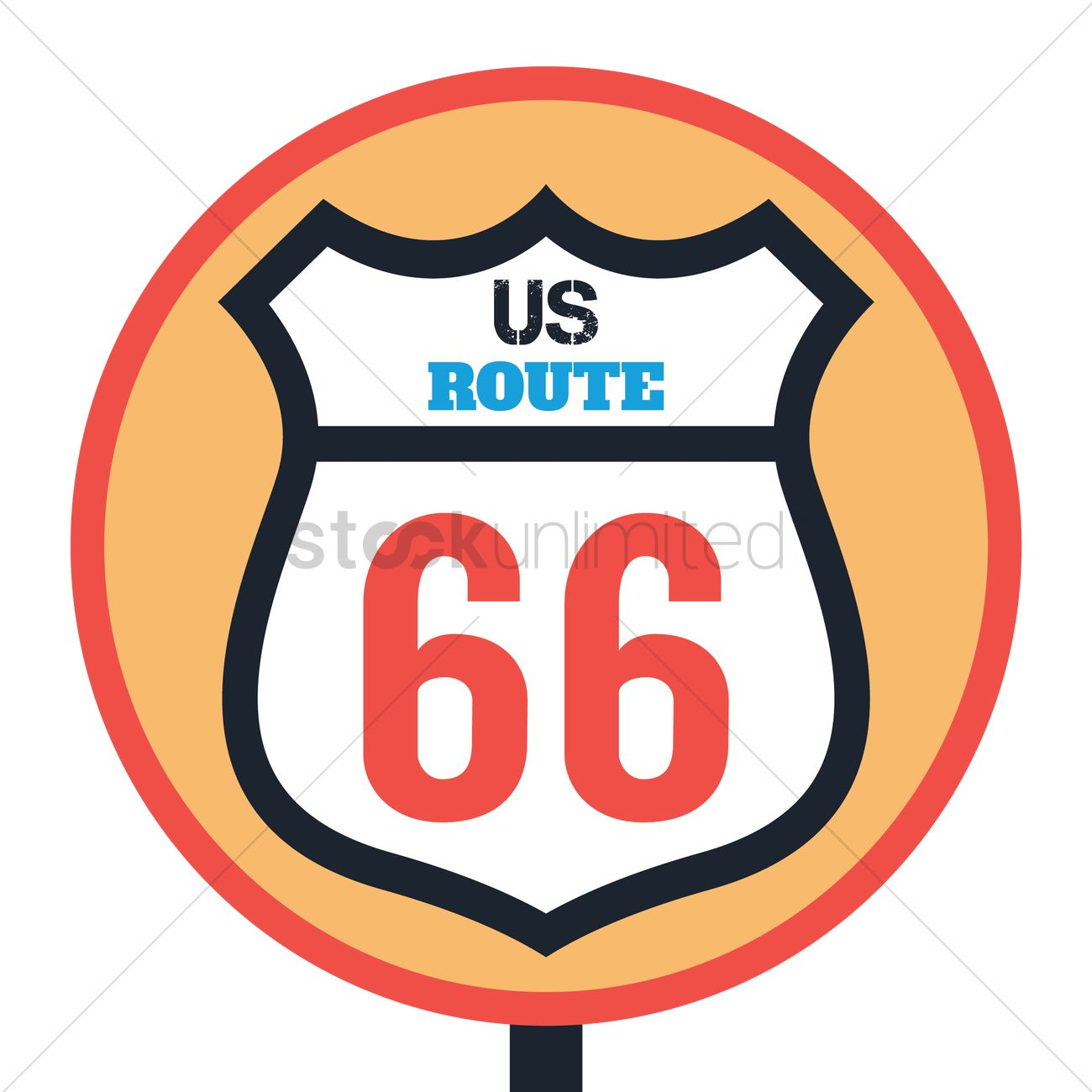 1300x1300 Route 66 Sign Vector Image