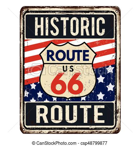 450x470 Route 66 Vintage Rusty Metal Sign On A White Background, Vector