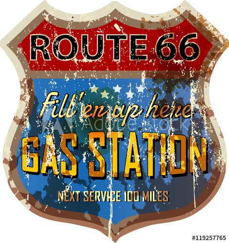 470x500 Grungy Retro Route 66 Gas Station Sign, Vector