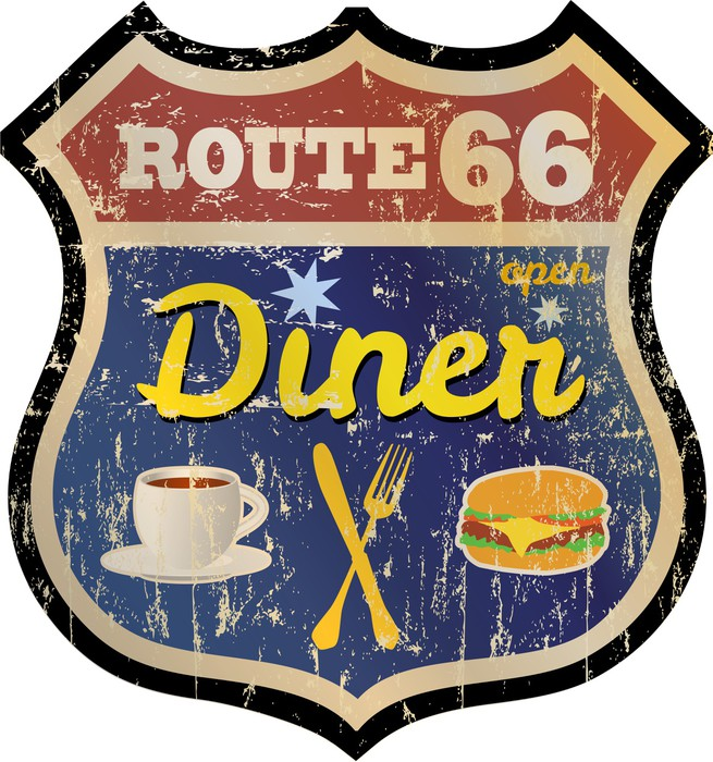 655x700 Retro Route 66 Diner Sign, Vector Eps 10 Sticker We