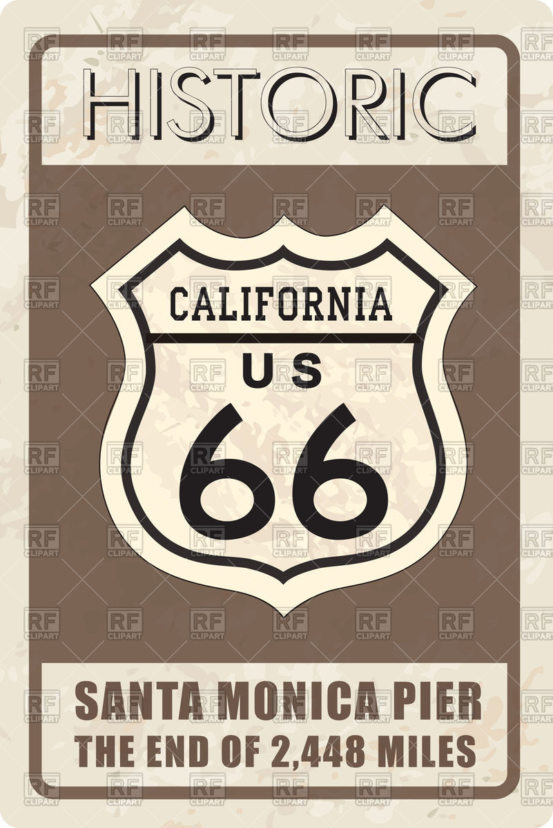 801x1200 Retro Route 66 Sign Vector Image Vector Artwork Of Signs