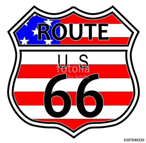 500x489 Route 66 Highway Sign With Flag Stock Image And Royalty Free