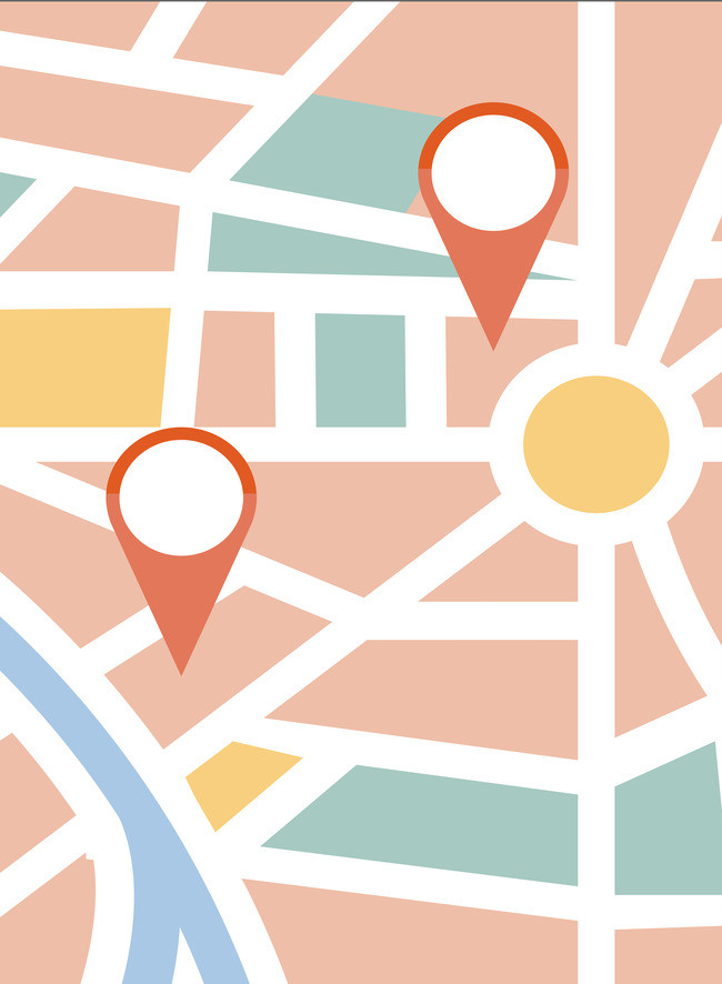 650x886 Location Map Directions Vector Background Material, Vector, Route