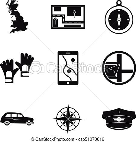 450x470 Route Icons Set, Simple Style. Route Icons Set. Simple Set Of 9