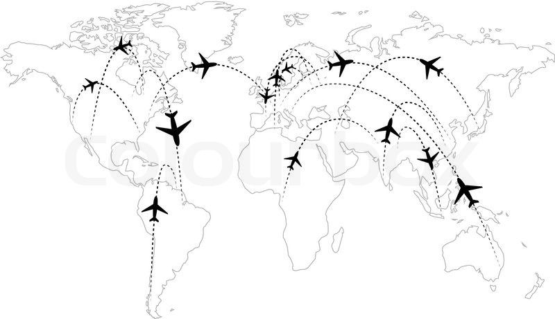 800x461 Airline Routes On Map Black And White Infographic Stock Vector