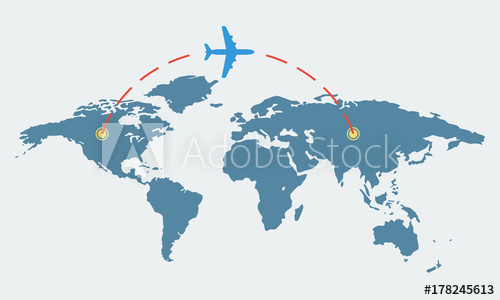 500x300 World Map With Plane. Travel And Tourism Concept. Airplane Route