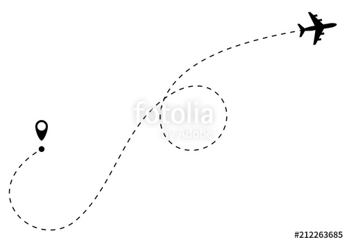 500x349 Airplane Path Line. Airplane Route. Vector Stock Image And