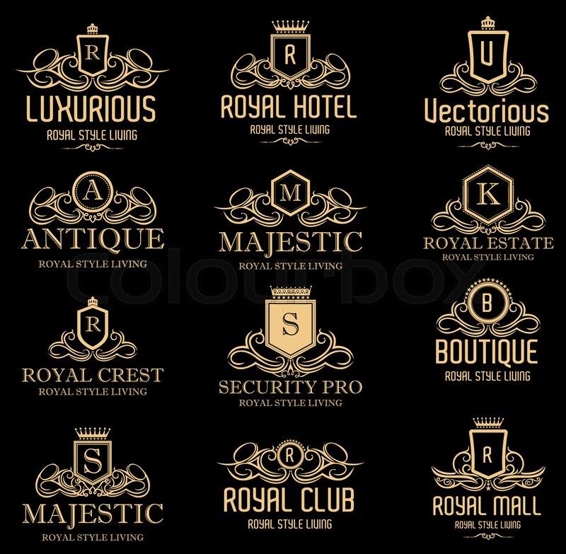 800x783 Luxurious Royal Crest Logos Gold Stock Vector Colourbox