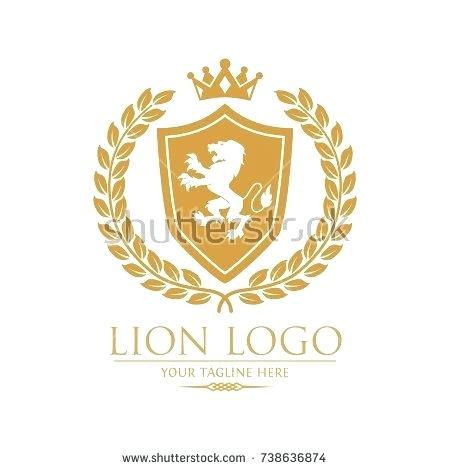 450x470 Royal Lion King Crest Logo With Laurel Vector Logo Template Royal