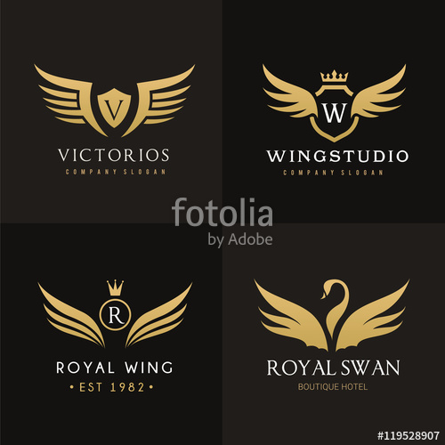500x500 Royal Wing Logo Set Stock Image And Royalty Free Vector Files On