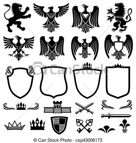 450x470 Family Coat Of Arms Vector Elements For Heraldic Royal Emblems
