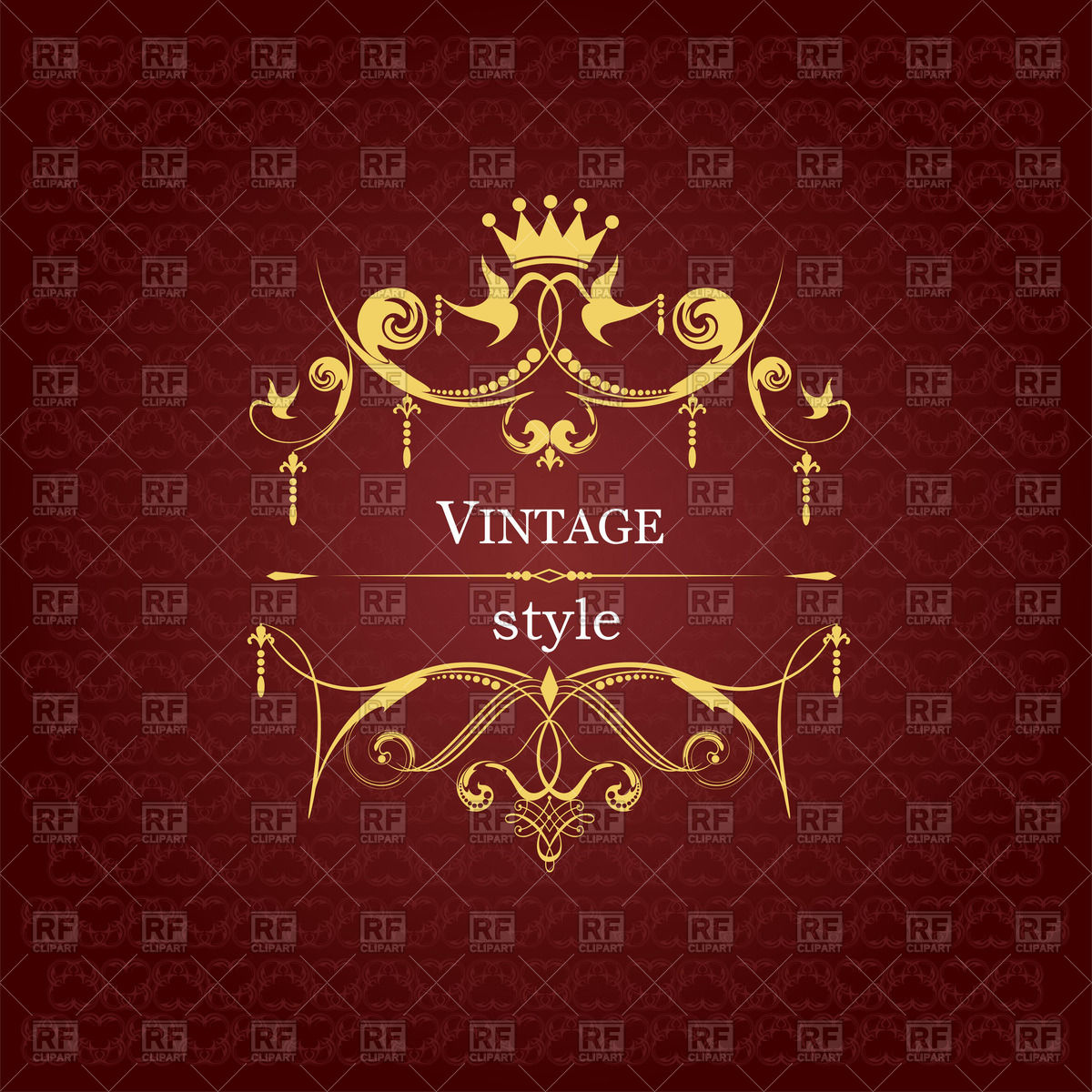1200x1200 Vintage Style Ornate Golden Royal Frame On Burgundy Background