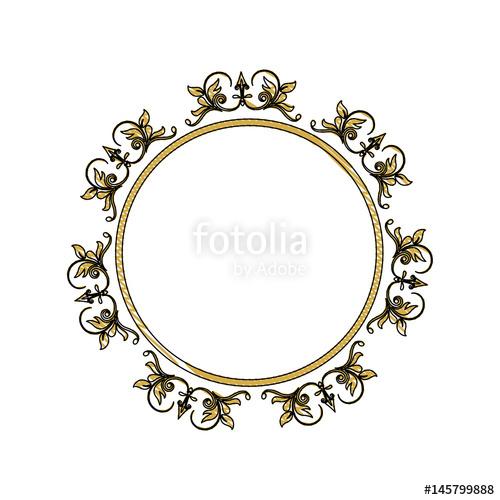 500x500 Vintage Round Swirl Flourish Decoration Frame Royal Image Vector