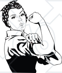 214x250 Clipart Of A Black And White Rosie The Riveter Flexing And Facing