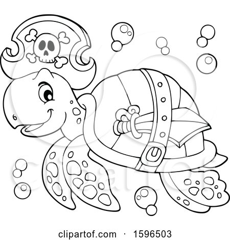 450x470 Clipart Of A Lineart Pirate Sea Turtle