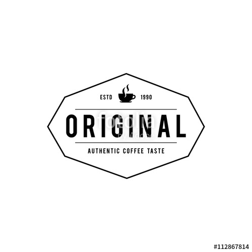 500x500 Coffee Shop Logo, Cup, Beans, Vintage Style Objects Retro Vector